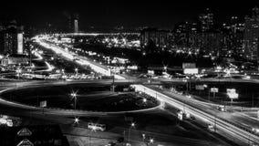 De lichten van de nachtstad in Kyiv Stock Fotografie