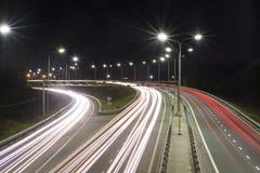 De lichten van de nachtweg stock fotografie