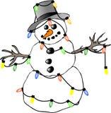 De lichten van de sneeuwman Stock Foto