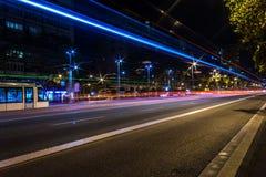 De lichten van de stadssleep Stock Afbeeldingen