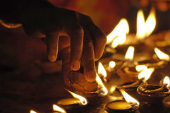 De lichten van de tempel bij Menakshi Tempel Madurai stock foto's