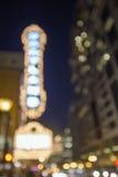 De Lichten van de theatermarkttent op de Achtergrond van Broadway Bokeh Stock Foto