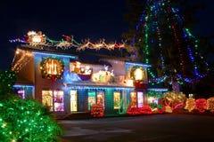De lichten van het Kerstmisdorp Stock Foto