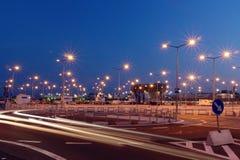 De lichten van het parkeerterrein Stock Afbeelding
