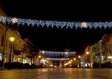 De lichten van Kerstmis in de stad Stock Foto