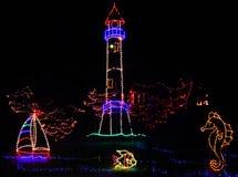 De Lichten van Kerstmis - het Tropische Thema van de Vuurtoren Stock Afbeelding