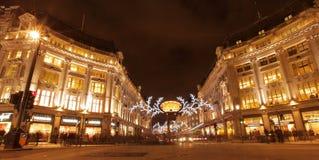 De lichten van Kerstmis van de Straat van Oxford Stock Foto