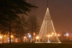 De lichten van de Kerstmisvakantie in stad de van de binnenstad van parkatlanta stock foto
