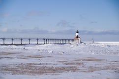 De Lichten van Pierhead van de Stad van Michigan en het Signaal van de Mist royalty-vrije stock fotografie