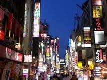 De lichten van Tokyo bij nacht Stock Foto