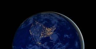 De lichten van de Verenigde Staten van Amerika tijdens nacht aangezien het als van ruimte kijkt De elementen van dit beeld worden Stock Afbeelding