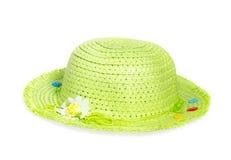 De lichtgroene die hoed van stropanama op witte achtergrond wordt geïsoleerd Stock Foto's