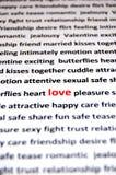 De liefde is al deze woorden Stock Foto's
