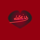 ` De liefde is de hand van ` grunge het van letters voorzien met hart Stock Foto's