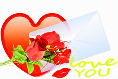 De liefde die hart tonen en nam met envelop toe Stock Afbeelding