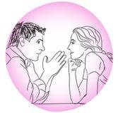 De liefde die van het gesprekspaar avond zonder regelsconcept dateren Stock Foto's
