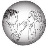De liefde die van het gesprekspaar avond zonder regelsconcept dateren Royalty-vrije Stock Foto