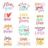 De liefde die vector mooie kalligrafie lieve vriendschap lettring ondertekent aan de vriendeniloveyou van de mammapapa op geliefd stock illustratie