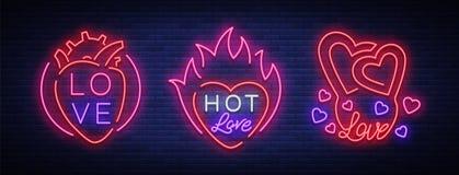 De liefde is een reeks symbolen Inzameling van neontekens op het thema van de Dag van Valentine s Vlammende banner voor groeten Stock Fotografie
