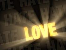 De liefde glanst voorbij Haat Royalty-vrije Stock Foto