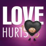 De liefde kwetst. Grappig hartbeeldverhaal Stock Foto's