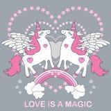 De liefde is Magisch Een knappe, leuke, beeldverhaal witte eenhoorn op een grijze achtergrond Vector vector illustratie
