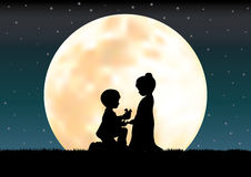 De liefde onder het maanlicht, Vectorillustraties Royalty-vrije Stock Fotografie