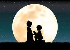 De liefde onder het maanlicht, Vectorillustraties Stock Afbeelding