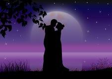 De liefde onder het maanlicht, Vectorillustraties Stock Foto