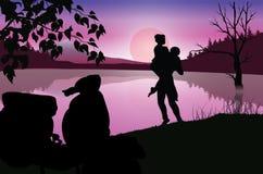 De liefde onder het maanlicht, Vectorillustraties Stock Fotografie
