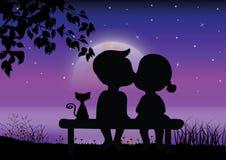 De liefde onder het maanlicht; Vectorillustraties Stock Afbeelding