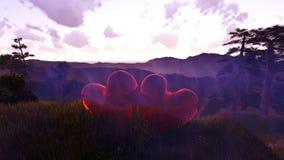 De liefde is op de luchtachtergrond met vliegende harten Royalty-vrije Stock Afbeelding