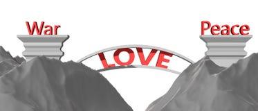 De liefde overbrugt het hiaat tussen vrede en oorlog Stock Afbeelding