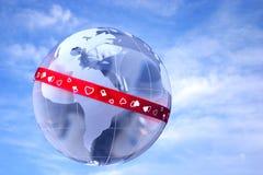 De liefde is rondom de wereld Stock Fotografie