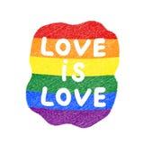 De liefde is de slogan van de liefdeaffiche met regenboogspectrum royalty-vrije illustratie