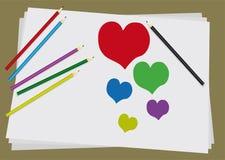De liefde trekt potloden Royalty-vrije Stock Afbeeldingen