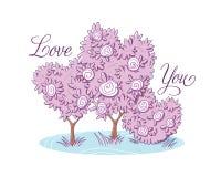 De liefde u doorboort boom met bloemen royalty-vrije illustratie