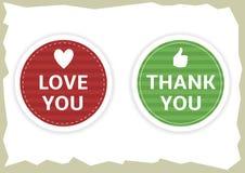 De liefde u en dankt u stickers Royalty-vrije Stock Fotografie