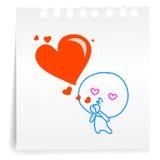 De liefde u kust liefde cartoon_on document Nota Stock Foto's