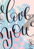 De liefde u overhandigt het geschreven van letters voorzien op abstract het schilderen patroon Stock Foto's