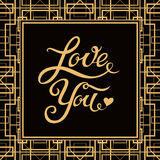 De liefde u overhandigt het getrokken van letters voorzien met Art Deco-stijlkader Stock Afbeelding