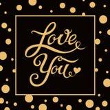 De liefde u overhandigt het getrokken van letters voorzien met Art Decodots-kader Royalty-vrije Stock Foto