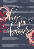De liefde u overhandigt voor altijd het geschreven van letters voorzien op abstract het schilderen klopje Royalty-vrije Stock Afbeelding