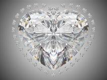 De liefde van de luxe - de grote diamant van de hartbesnoeiing Stock Foto