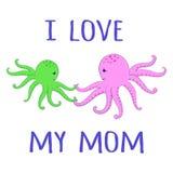 De Liefde van de octopussenbaby Stock Foto's