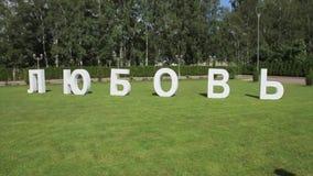 De liefde van de standbeeldinschrijving op het gras Het woord van de Diyliefde van document op het gras wordt gemaakt dat mooi bo stock video