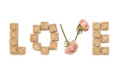 De liefde van de tekst van roze en suiker. Reeks: snoepje, droom Royalty-vrije Stock Foto's
