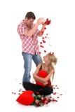 De liefde van de valentijnskaart, jonge volwassenen Stock Fotografie