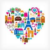 De liefde van het pari - vectorillustratie met reeks pictogrammen Stock Foto's