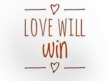 De liefde zal citaat met hartenpictogram winnen royalty-vrije stock foto